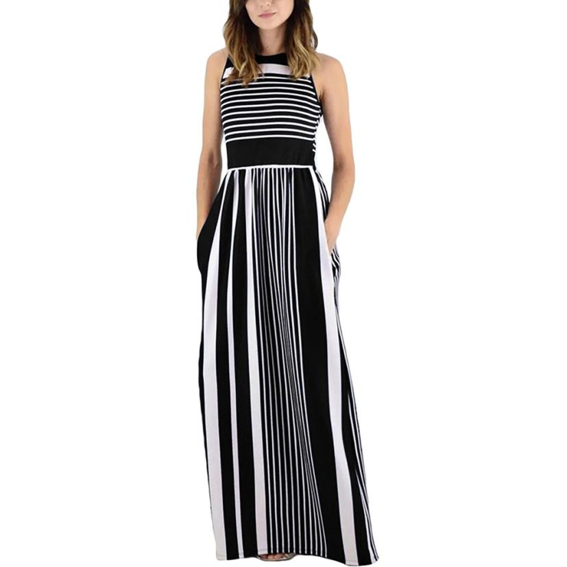 Fashion woman dress 2018 spring summer Women Summer Sleeveless Crewneck Striped Long Maxi Dress With Pockets O-Neck Empire