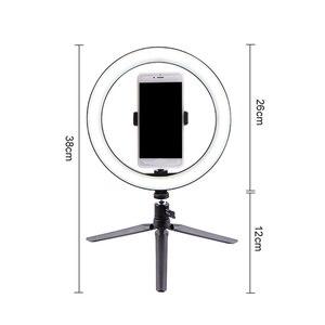 Image 5 - 12W fotoğrafçılık LED Selfie halka ışık 260MM kısılabilir kameralı telefon lamba dolgu ışığı ile masa tripodlar telefon tutucu