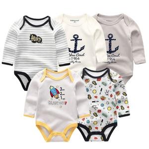 Image 2 - 5 PCS/lot newbron winter long sleeve baby rompers set baby jumpsuit girls baby girl romper roupa de bebe baby boy clothes
