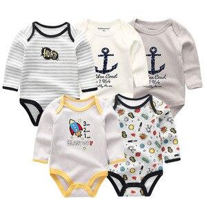 Image 4 - 5 יח\חבילה newbron 2018 חורף ארוך שרוול תינוקת ompers כותנה סט תינוק סרבל בנות roupa דה bebe תינוק ילד בגדים