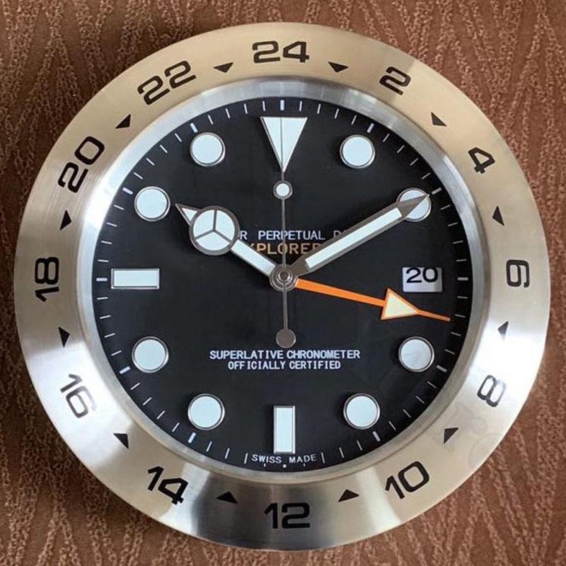 34 38CM Metal Watch Shape Wall Clock with Night Lights Calendar 3D Clock Dial Silent Mechanism