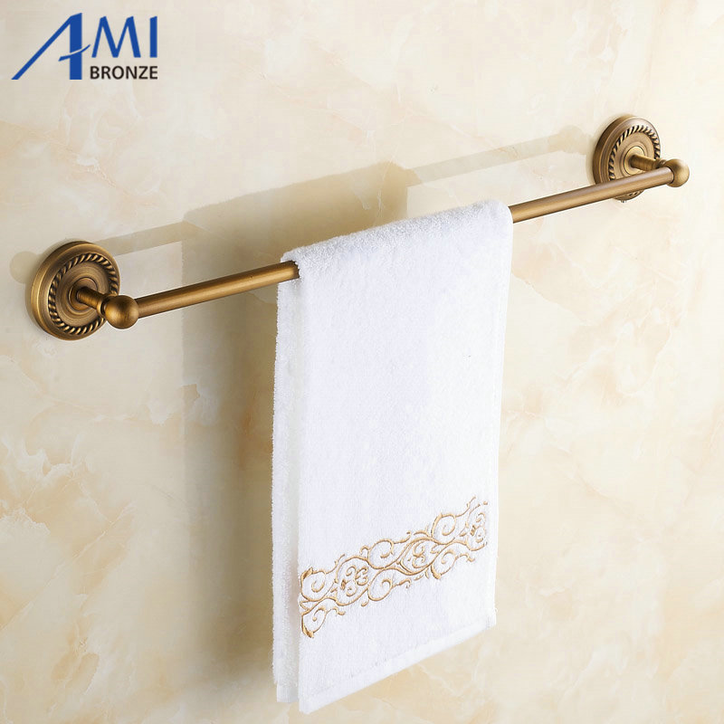 50CM AB1 Series Wall Mounted Antique Brass Brushed Finish Bathroom Accessories Towel Bar,Towel Rack Towel shelf