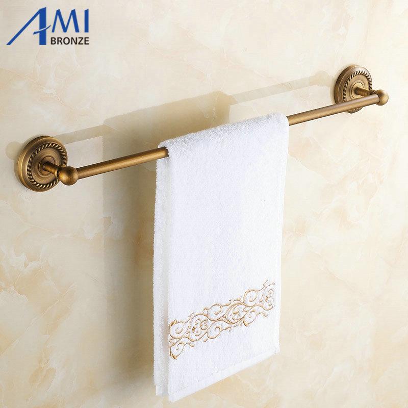 ФОТО AB1 Series Wall Mounted Antique Brass Brushed Finish Bathroom Accessories Towel Bar,Towel Rack Towel shelf
