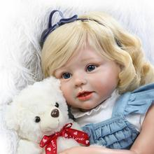 2017 New 70cm Reborn Babies Curls Hair toddler girl doll Silicone Baby Doll Gift Toys for Girl Juguetes Brinquedos