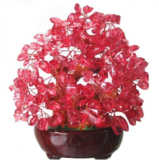 Feng Shui Red Crystal Money Tree Bonsai Style Decoration For Wealth And Luck