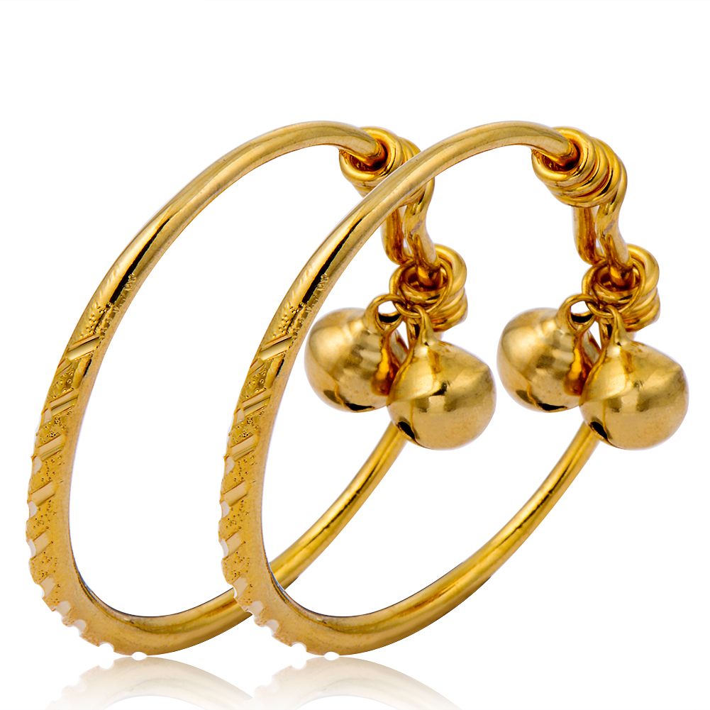 24k gold color small childrens infant newborn kids baby adjustable bangle bracelet child boys girls with