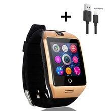 Q18 Homens Relógio Inteligente Com Tela Sensível Ao Toque de Apoio TF Cartão da Câmera Sim smartwatch para Android Relógios Inteligentes DZ09 Y1