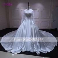 Vestido De Noiva Appliques Lace Long Sleeve Pearls A Line Wedding Dress 2018 Gorgeous Taffeta Royal