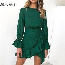 MayHall Flare Sleeve Ruffles Autumn Women Mini Dress Sexy Tie Asymmetry A Line Dresses Casual vestido robe femme ete 2018 MH303