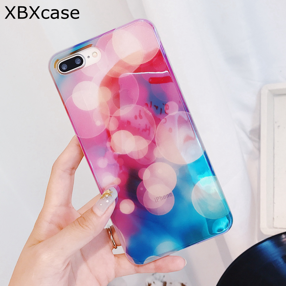 XBXCase <font><b>Blu-Ray</b></font> Laser TPU Case For iPhone 7 8 Plus Case Silicose Fantasy <font><b>Bubble</b></font> Soft Transparent Cover for iPhone 6 6S Plus X