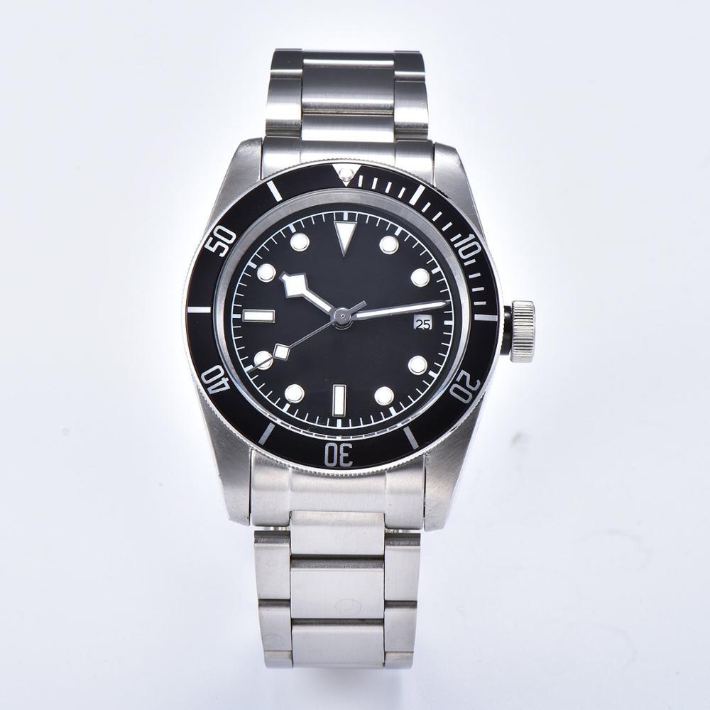 2019 men's automatic movement watch 41mm diving luminous pointer aluminum bezel light steel strap glass black dial D10