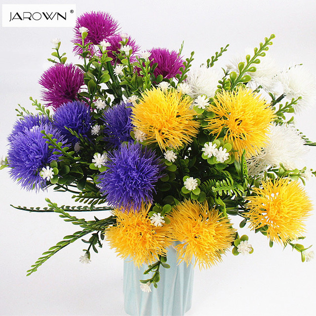 Jarown Artificial 5heads Small Ball Flower Bouquet Plastic