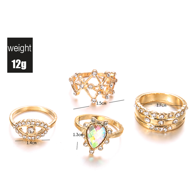 4 Pc Fatima Eye Gold Ring Set