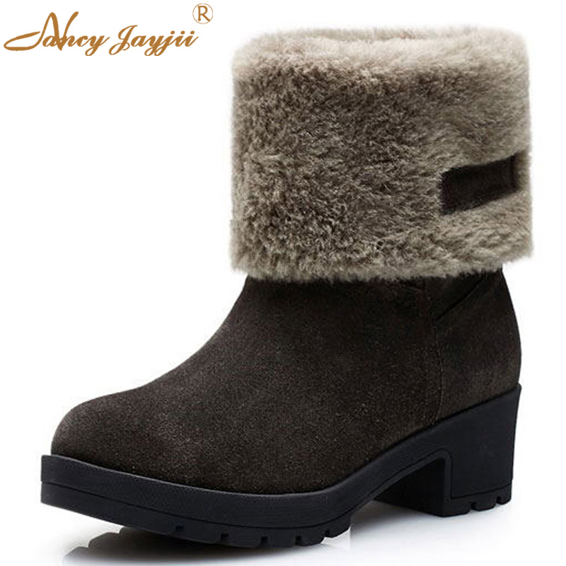 Nancyjayjii Women Snow Thicken Cow Suede Round-Toe Med Heels Ankle Sleeve Boots,Shoes For Woman,Outerdoor&Winter,Plus Size 4-16 superstar cow suede tassel leather boots platform zipper med heels rivets snow boots round toe mid calf boots for women l2f7