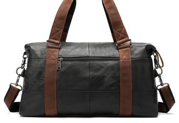 Casual Men Genuine Leather Travel Chain Bag High Capacity Cowhide Shoulder Crossbody Luggage Bag Weekend Duffle Handbag D419