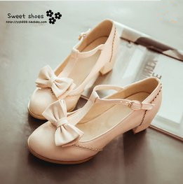 Size 31-43 Women Autumn Sweet Bow Thick Heel Lolita Shoes Princess Pumps Students Leather Shoes 6342