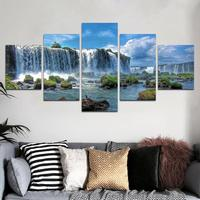 Breathtaking Waterfulls canvas prints 5 Piece Wall Art Home Decoration Painting Printed on canvas Ready to Hang Drop shipping