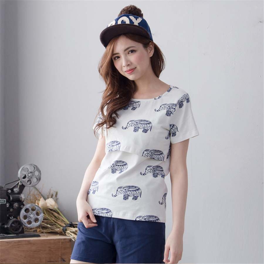 ФОТО Summer Breastfeeding Maternity Pajamas For Pregnant Women Clothes Fashion Soft Cotton Casual Maternity Clothes Nursing 50M0019