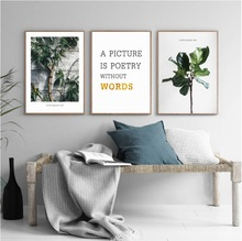 3 Pieces Decorative Painting Nordic Green Refreshing Plant Modular Picture Wall Art Canvas for Living Room No Framed