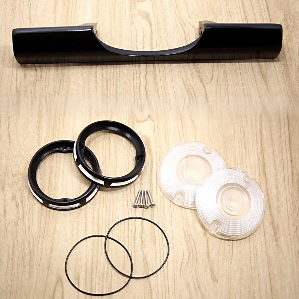 Rear Black Turn Signal Bar&Bezels&White Turn Signal Lens For Harley Touring FLHR FLH/T FLTR billet rear hub carriers for losi 5ive t