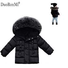2017 Winter Baby Boys Jacket Winter Clothes Girls Thick Warm Outwear Cotton Pad Kids Snowsuit Children Hooded Costume Brand Baby