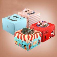 20 наборов, 4 дюйма, коробка для торта с оконной ручкой, крафт-бумага, коробка для сыра, торта, для детей, дня рождения, свадьбы, дома, вечерние, для цирка, солдата