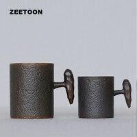 430/240มิลลิลิตรสไตล์ญี่ปุ่นถ้วยกาแฟเซรามิกคู่ด้ามจับสร้างสรรค์สำนักงาน