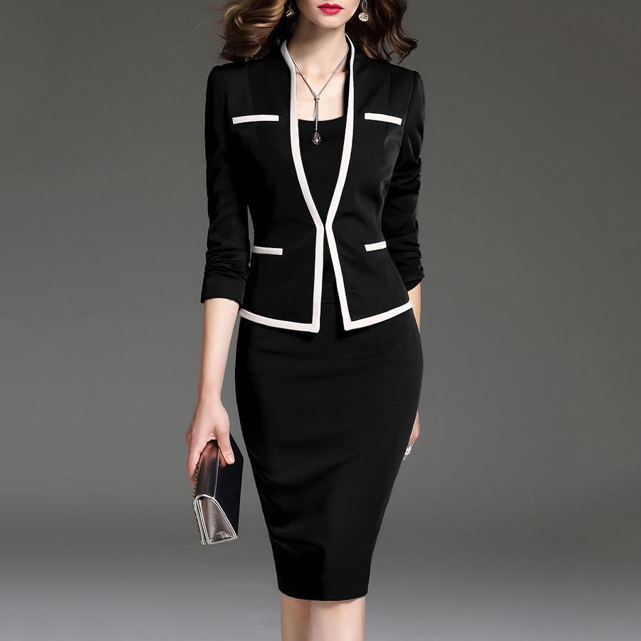 Women's Suit Bodycon Dress Jacket 2 Pieces Set Office Wear Jacket  Dress 2019 Spring Autumn Female Dresses Suits Plus Size 6XL