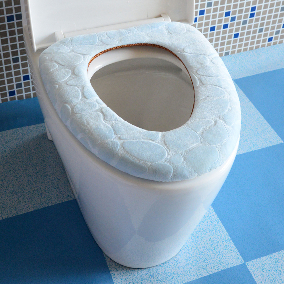 Sinland Paste-Type Portable and Washable Toilet Seat Warmer Toilet Seat Cover Cushion Pads Blue+Green+Light Brown