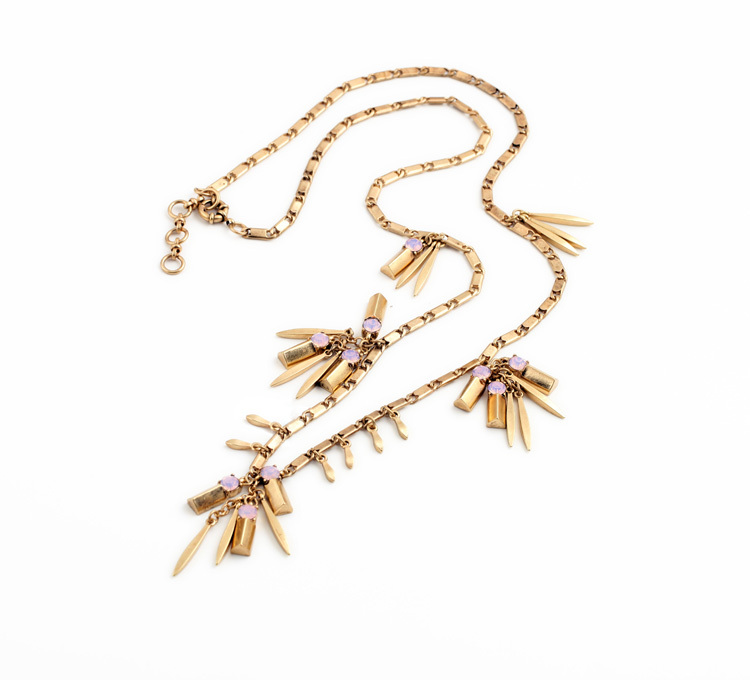 Designer Jewerly Crystal Personality Luck Major Suit Accessories Fashion Ancient Metal Leaf Tassels Necklace