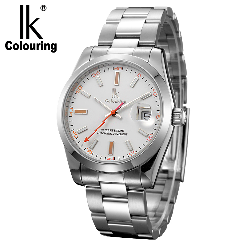 IK Brand Man Automatic Mechanical Watch Mens 12 Hours Calendar Silver Full Steel Watches Fashion Simple Casual relojes halei lovers watches crystal inlaid full steel quartz watch women men simple casual wristwatches silver clock calendar relojes