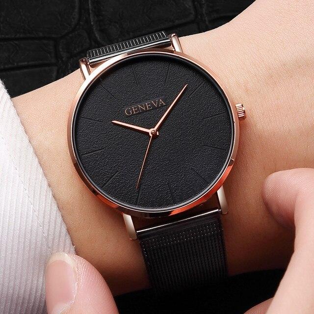 Mulheres simples Malha de Aço Inoxidável Dos Homens Relógios Top Marca de Luxo Relógio de Pulso de Quartzo Moda senhoras Relógio Montre Femme 2018