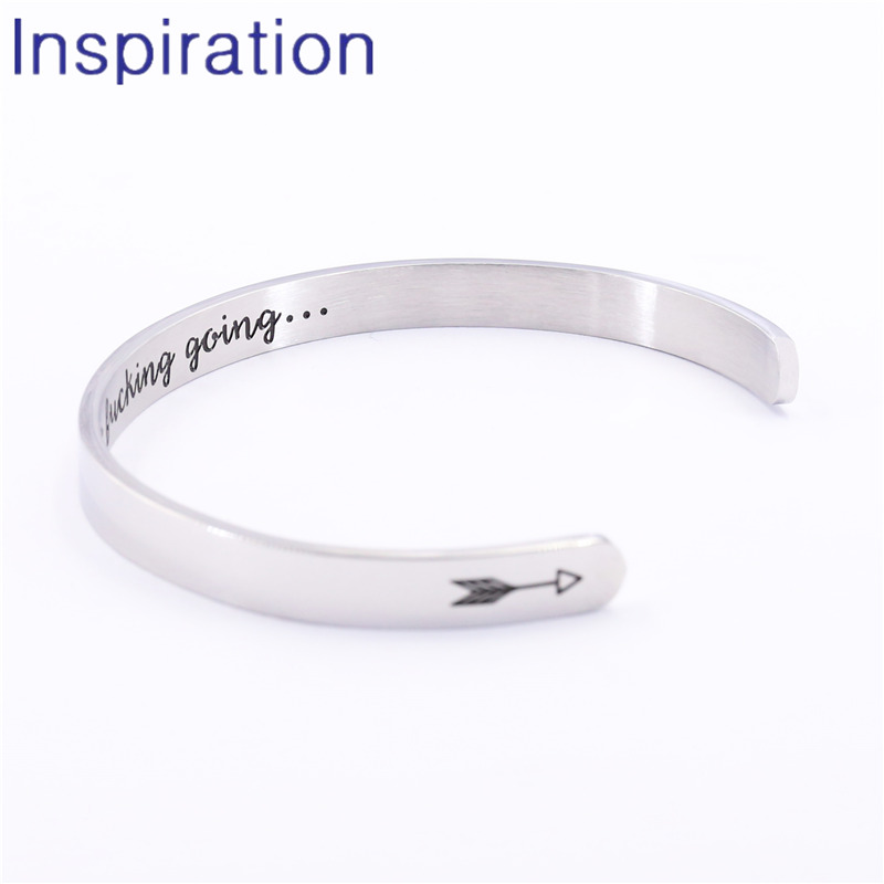 Inspirational Bracelet Open Cuff Bangle Mantra Quote Keep Going Stainless Steel