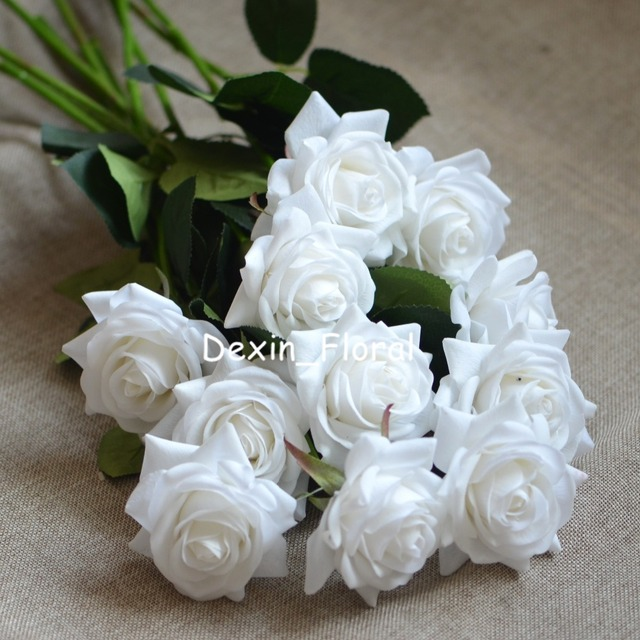 White rose real touch silk roses diy silk bridal bouquets wedding white rose real touch silk roses diy silk bridal bouquets wedding centerpieces home flowers party accessory mightylinksfo