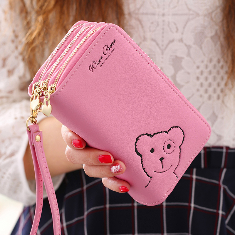 Long Zipper Bear Women Wallets Leather Female Purse 3 Layer Zippers Ladies Wallet Day Clutch Handle Phone Bag Big Capacity Bags flower women s coin purse ladies clutch wallet phone bag long card holder zipper bag pu leather ladies wallets zipper clutch bag