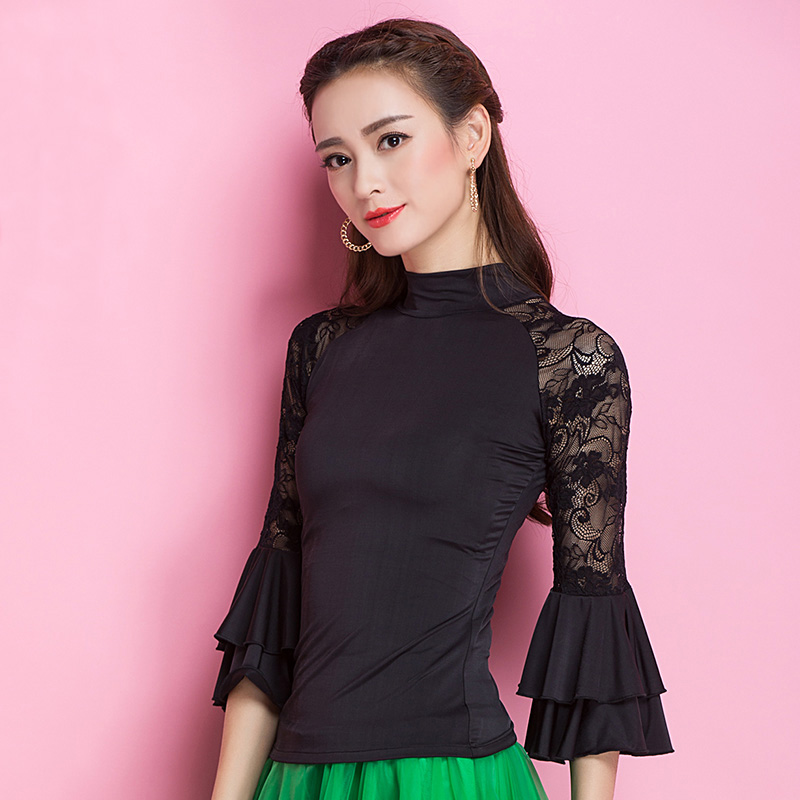 Image 3 - Fashion Modern lace long sleeve Latin Dance clothes top for women/female/girl, Tango Samba Ballroom Costume performance wearclothes for women 2013top brand for womenclothes for skinny women -