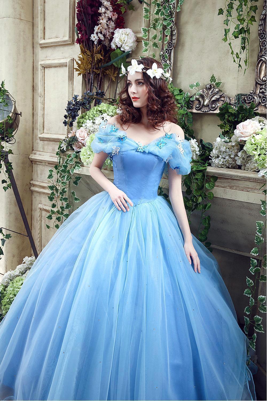 2017 Vestido De Noiva Blue Ball Gown Romantic Cinderella Wedding ...