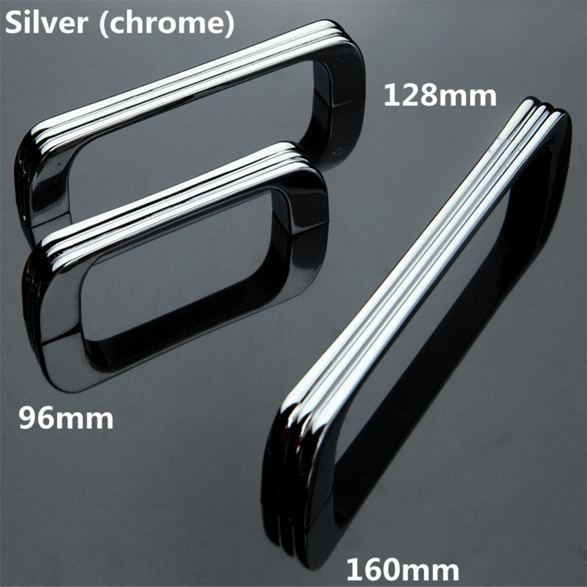 96mm 128mm 160mm modern simple silver chrome dresser kitchen cabinet door handles pulls stain nickel drawer cupboard pulls knobs 32mm shiny silver drawer cabinet knobs pulls bright chrome dresser door handles modern simple fashion furniture handles pulls