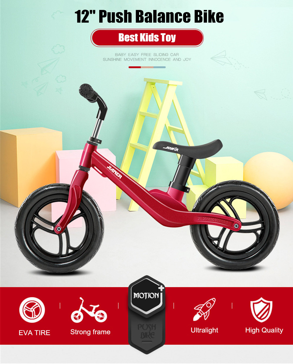 """HTB1XdwgbcrrK1RjSspaq6AREXXa1 12"""" Push Balance Bike Ultralight Kids Riding Bicycle for 1- 4 Years Baby Walker Scooter No-Pedal Learn To Ride Pre Bike EVA Tire"""