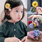 Kids toddlers hair accessories 2-3PRS/lot wool crochet flowers hair ties elastic hair bands Winter Spring hair clips for girls