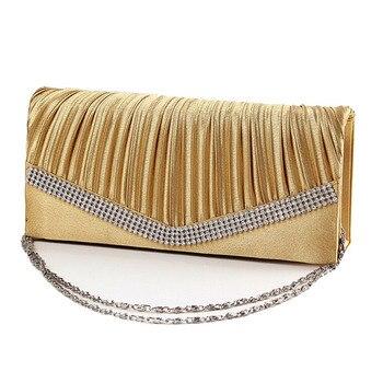 Women Satin Clutch Bag Rhinestone Evening Purse Ladies Day Clutch Chain Handbag Bridal Wedding Party Bag Bolsa Mujer 2018 XA1080 4