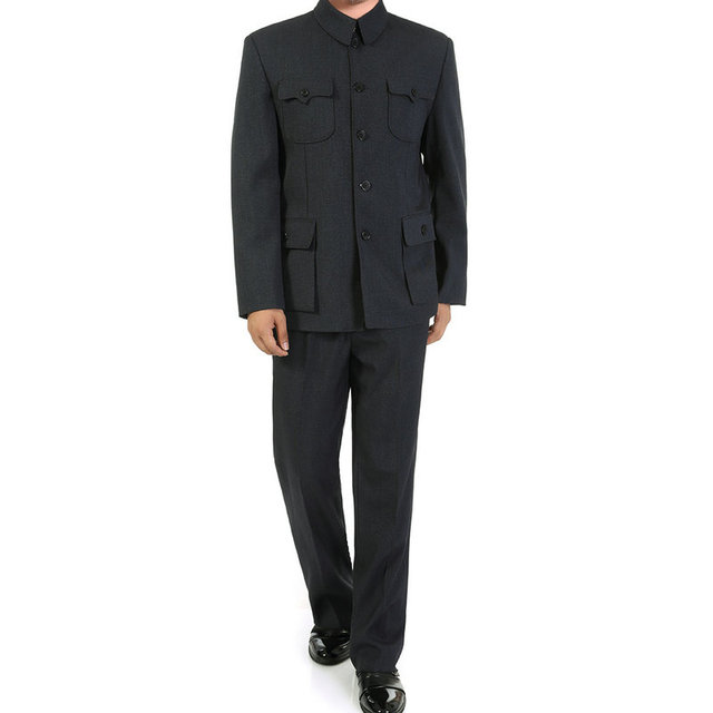 Chinese Man Dark Grey Tunic Suit Set For Men Mao Suit Coat With Pants 2 Piece Set  Zhongshan Blazer Jacket And Trouser Twinset