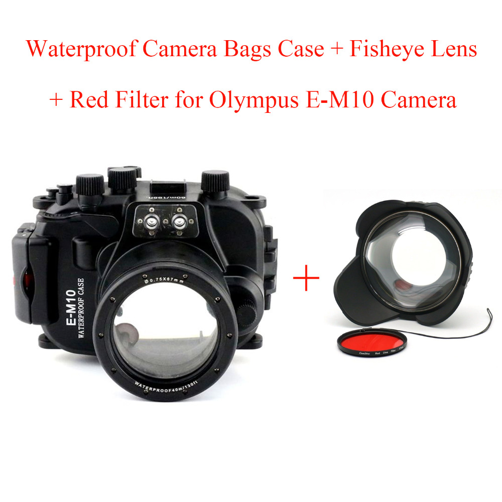 Meikon 40M/130ft Underwater Camera Housing Diving Case for Olympus E-M10,Waterproof Camera Bags Case + Fisheye Lens + Red Filter meikon 40m 130ft underwater waterproof camera housing case for sony a6000 16 50 lens red filter