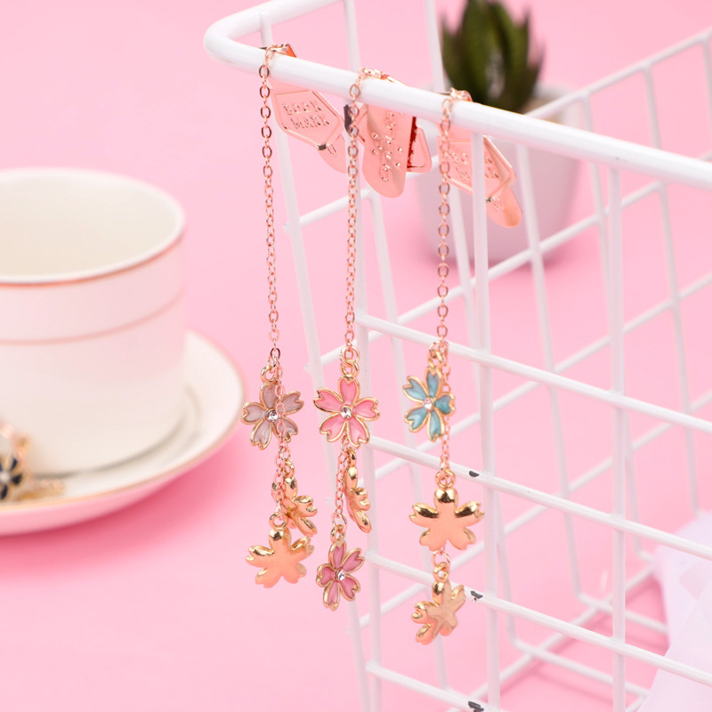 Sakura Metal Page Maker Cute Pendant Bookmark For Books Teacher Present Stationery