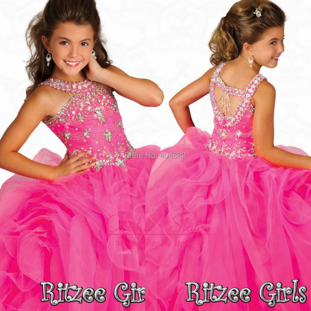 Stunning Crystal Girls Pageant Dresses Beaded Halter Organza Ruffles Pink Party Prom Gowns Glitz Little Flower Dress - Weddings & Events Collection store