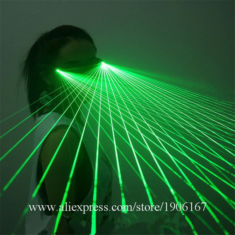 Free Shipping LED Laser Glasses Green Light Dancing Stage Show DJ Club Party Green Laserman Show Glasses Multi Beams