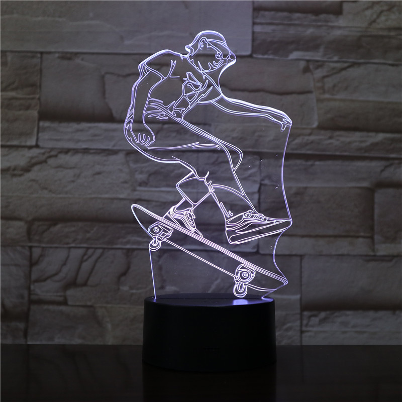 Skateboarding Player Figure 3D LED Visual Lamp for Indoor Room Decor Cool Gift for Kids Child Bedroom Decorative Led Night Light
