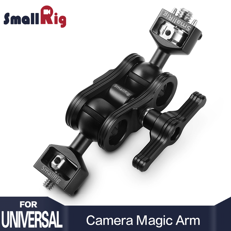 SmallRig Dual DSLR Camera Magic Arm with Double Ballheads( Arri locating Pins and 1/4 Screw ) For Director Monitor Support 2115 smallrig dual aluminum camera articulating arm ballhead extension bar for magic arms 1 4 screws dslr monitor support 2109