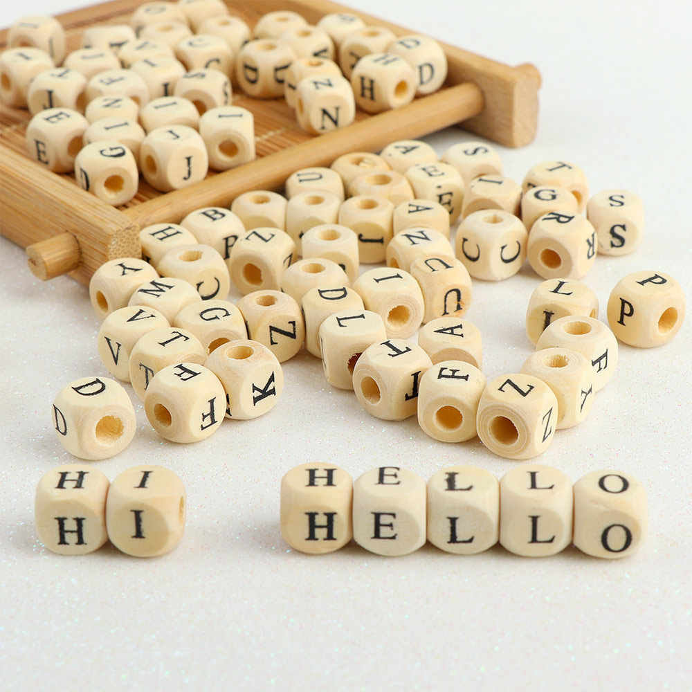 100pcs/lot Square Wooden Alphabet Letter Number DIY Beads Baby Smooth Teether For Jewelry Making Accessories