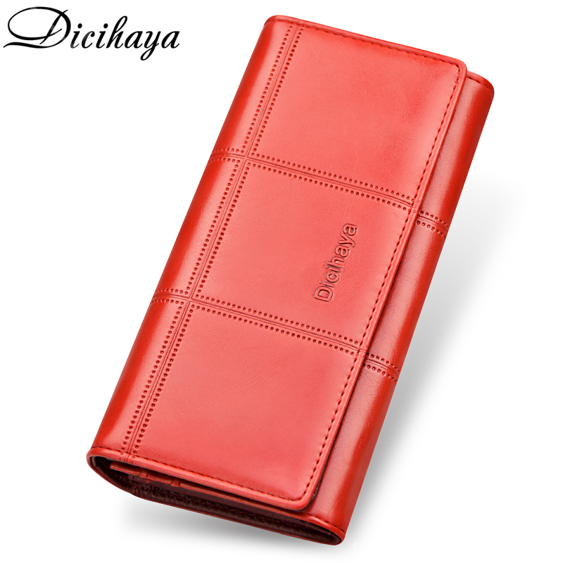 купить DICIHAYA NEW 2018 Genuine Leather Women Wallets Brand Long Design Clutch Bag Cowhide leather Wallet Card Holder Female Purse по цене 1012.48 рублей
